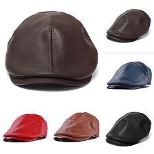 Mens Ivy Lether Flat Cap Gatsby Newsboy Baker Beret Duckbill Driving Cabbie Hat