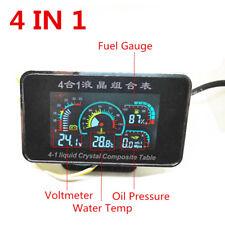 Car SUV LCD 4 In 1 Water Temperature/Oil Pressure/Oil Fuel/Voltage Gauges+Sensor