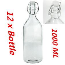 12 x Round Glass Water Bottle 1 Litre Clip Top Bottle Flip Top Glass Bottles WWW