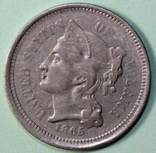 1865 Three Cent Nickel US Type Coin 3c XF Extra Fine Copper-Nickel Coin