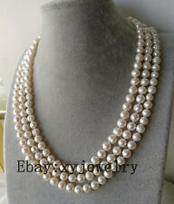 """charm 3 row cultured 8-9mm round fresh water pearl wedding party necklace 15-22"""""""