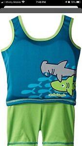 Aqua Leisure Boys 1 Piece Swim Trainer Shark Print Top 33-55 Pounds
