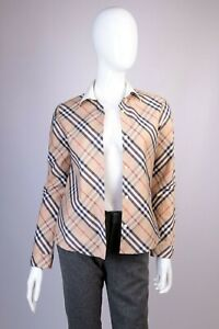 Girls Burberry Beige Check Cotton Long Sleeve Shirt Size 14Y/158cm