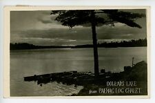 Dollars Lake from Palmac Log Chalet PAKESLEY Vintage RPPC Boats 1940s