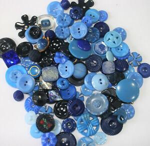 Large Lot Vintage Plastic Realistic Pierced Blue Buttons~Flowers, Housedress