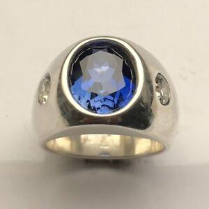 MJG STERLING SILVER  RING. HEAVY. 12 x 10mm LAB BLUE ZIRCON. 2 CZ SIDE 9.5
