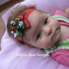 Christmas Dainty Layered Korker Hair Bow Soft Headband Fits Preemie to Toddler