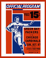 Packers vs Bears - 1939 Game Program Cover, 8x10 Color Photo