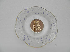 Queen Elizabeth 11 ~ Beautiful Etched Glass Plate ~ White Stones ~ Fluted Edge