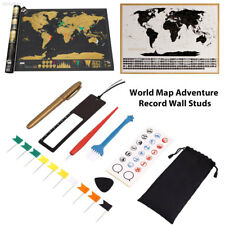 E1DB Personalized Travel Atlas Scratch Off World Map Line Planning Marking Tool