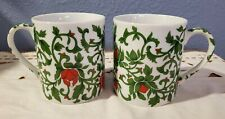 2 Williams Sonoma Coffee Cup Mug Christmas Holiday Green Vines Red Flowers
