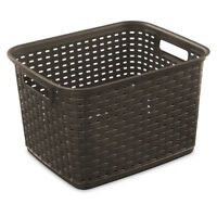 Tote Plastic Box Container Storage Large Bin Shelf Wicker Look w Handles Brown