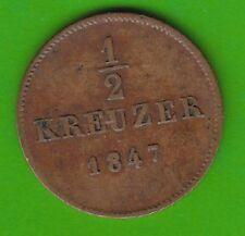 Württemberg 1/2 Kreuzer 1847 sehr schön nswleipzig