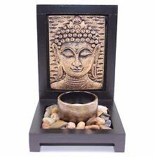 Tabletop Bronze Buddha Face Zen Garden Rock Candle Holder Gift & Home Decor US