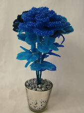 BLUE PRECOSIA SEED BEAD ROSES X 3 SET SILVER PEBBLES IN SILVER GLASS VASE