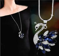 Damenkette Halskette Mode Schmuck mit Anhänger Silber Kette 75cm lang Schwan M38