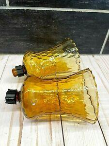 2 Vtg Amber Glass Votive Peg Candle Holder Globe Sconce Swirl Diamond Optic .