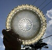 VTG. MCM Sunburst antique Heavy Thick Cut Crystal Glass Cigar Starburst Ashtray
