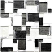 Glas-/Natursteinmosaik/alu Kombination mix weiß und grau Art:49-FK02   10 Matten