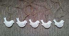 Bunting Vintage Chic Decorative Hanging Birds Garland Bunting White Cream Metal