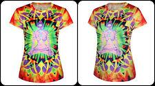 Psychedelic Rainbow Buddha Hindu God Prayer Rave T-shirt Mardi Gras Dance Party