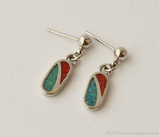 ESTATE JEWELRY BEAUTIFUL BLUE AND RED INLAID STONE DANGLE STUD EARRINGS 2CM