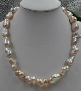 Natural Rare pink lavender 16*21mm baroque Pearl Necklace