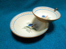 VTG Stangl Blue Daisy Chip and Dip Bowl Set 3 pc. Bowls with Holder Hard to Find