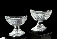 "ANGLO IRISH CUT CRYSTAL NAVETTE FORM DIAMOND POINT 2PC 3"" MASTER SALT DIPS 1850-"
