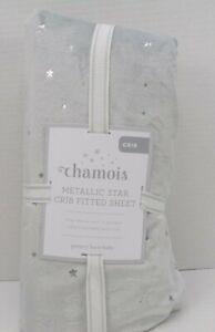 Pottery Barn Kids Baby Metallic Stars Chamois Fitted Crib Sheet Gray #7522