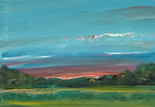 Central New York Summer Sunset 5x7 in.Original Oil  on panel Hall Groat Sr.