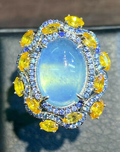 NATURAL AQUAMARINE 14X10 SAPPHIRE DIAMOND CUT STERLING SILVER 925 RING