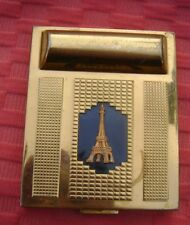 Ancien poudrier et logement rouge à lèvres en Métal doré décor Tour Eiffel D2093
