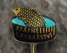 Antique Czech State Fisheries Association Carp Fish Fishing Pin Badge