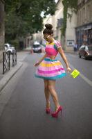 RARE candy stripe cutout stunning chiffon skater party dress Sizes 6 & 8 YURY15