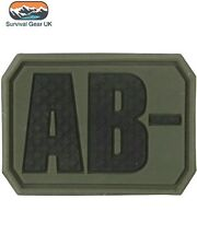 TACTICAL PVC AB- BLOOD GROUP PATCH ARMY MEDIC BAGDE MILITARY ARMY AIRSOFT