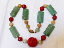 VINTAGE CHINESE CAVED JADE CINNABAR BEAD NECKLACE, SILVER CLASP