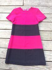 LIZ CLAIBORNE PETITE SIZE 6 PINK AND BLACK BLOCK DRESS SHORT SLEEVE