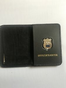 Police Officer  Thin Blue Line Mini PIN  Leather ID Wallet - (Sister) 1INCH