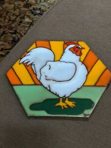 Redware Rooster Trivet, Hand-Fired. Crafted Signed, Iowa