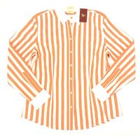 R.M. Williams Womens Semi Fitted Long Sleeve Orange White Striped Shirt Size 8