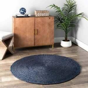 handmade braided dark gray colourfull jute round rugs outdoor jute riund rugs