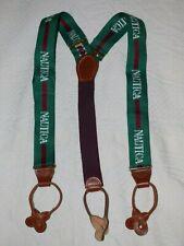 RARE Vintage~CAS~Nautica Suspenders~Green Logo~Button End