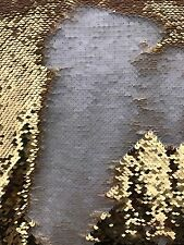 5mm Mermaid Sequins Rich Gold/ Soft White Flip Reversible fabric By yard