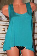 (11) Jane Norman Bright Green A line Asymmetric Hem line top blouse vest size 12