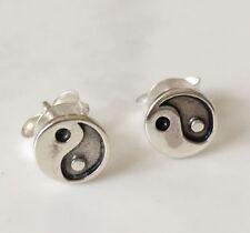 Genuine 925 Sterling Silver Yin Yang Black Stud Earrings Men Women Children