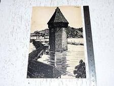 RARE CHEMINS FER SUISSE 1905-1910 CROQUIS ARTISTES LUCERNE HM GLATZ TOUR EAU