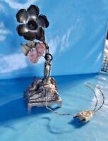Ancienne Lampe de Chevet souvenir de Lourdes vierge fleurs rose boîte à musique