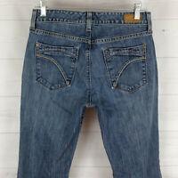 Eddie Bauer womens size 4 stretch blue medium wash detailed curvy bootcut jeans