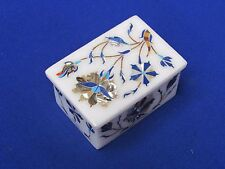 Marble Jewelry Box Marquetry Art Inlay Pietra Dura Handmade White Stone Gift